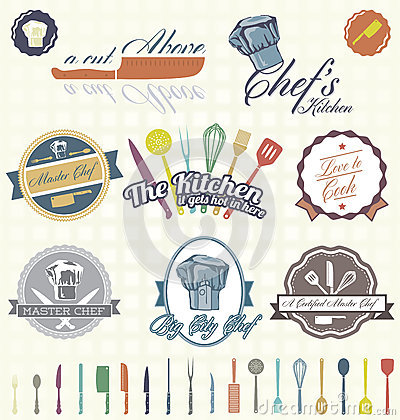 Vector Set: Retro Chef Labels And Icons Royalty Free Stock Images ...