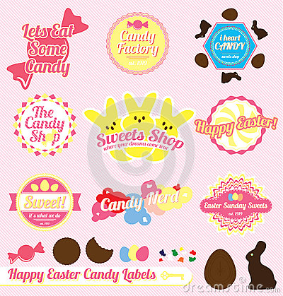 Free Vector Set: Retro Easter Candy Labels Royalty Free Stock Images - 27252549