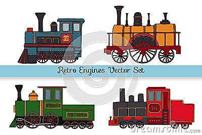 Vector set of retro engines Cartoon Illustration