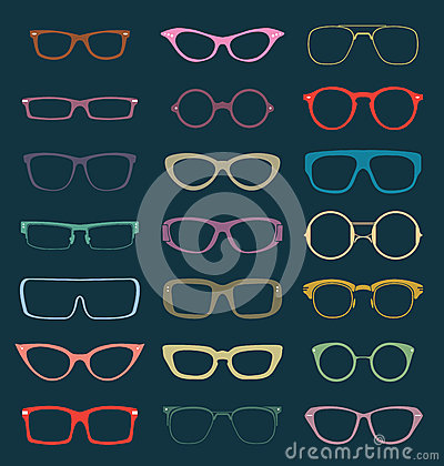 Vector Set: Retro Glasses Silhouettes in Color