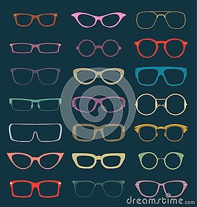 Vector Set: Retro Glasses Silhouettes in Color