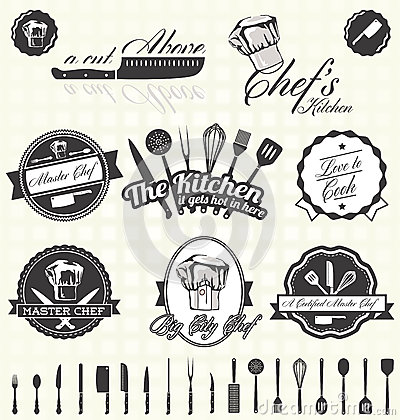 Free Vector Set:Retro Master Chef Labels And Icons Stock Image - 31771451