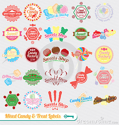 Free Vector Set: Retro Mixed Candy Labels Royalty Free Stock Photo - 27328435