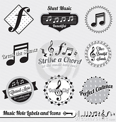 Vector Set: Retro Music Note Labels and Stickers