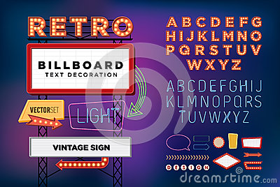 Vector set Retro neon sign, vintage billboard, bright signboard Vector Illustration