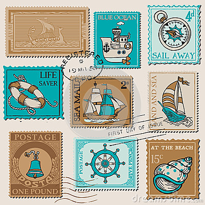 Vector Set of Retro SEA POST Stamps