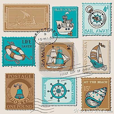 Vector Set of Retro SEA POST Stamps