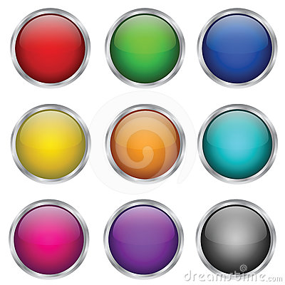 Vector set of round glass buttons