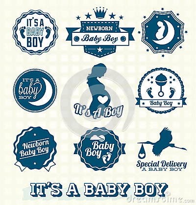 Vector Set: Its A Baby Boy Labels
