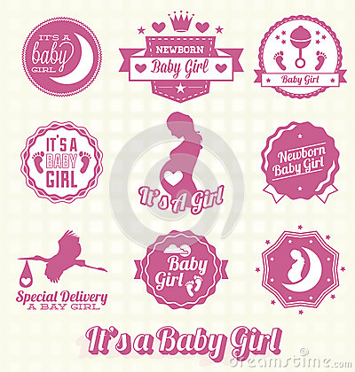 Vector Set: Its A Baby Girl Labels