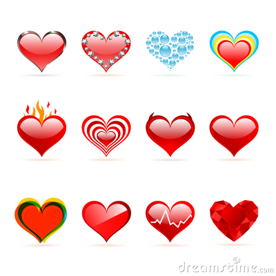 Vector set of Saint Valentine s day red hearts