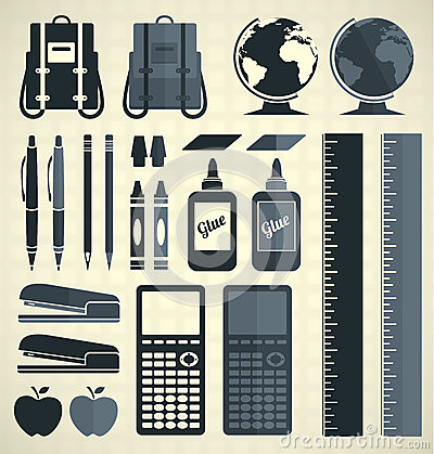 Free Vector Set: School Supplies Silhouettes And Icons Royalty Free Stock Image - 33859346