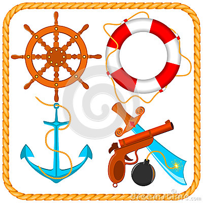 Vector set of sea pirate items