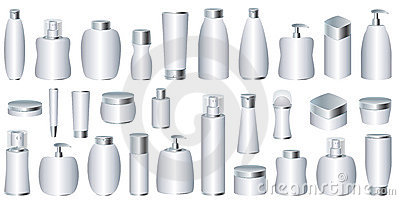 Vector set of silver cosmetic packages