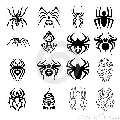 Vector set of spider symbols