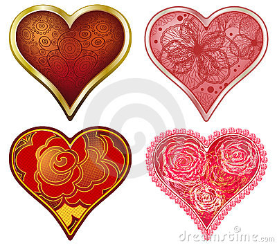 Vector set of stylized Hearts