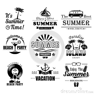 Vector set of summer time vintage logos, labels, badges Vector Illustration