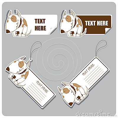 Vector set of tags and stickers with dog.