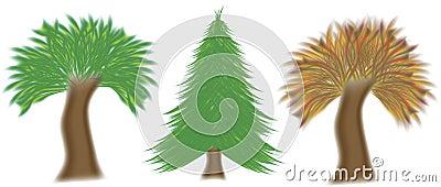 Vector set of three trees