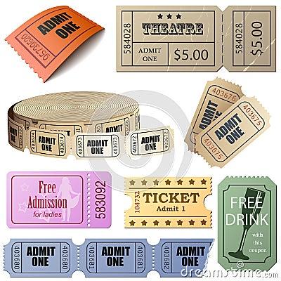 Vector set of tickets