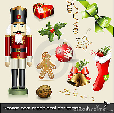 Free Vector Set: Traditional Christmas Royalty Free Stock Photos - 12155268
