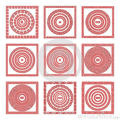 Free Vector Set Traditional Vintage Golden Square And Round Greek Ornament Meander Pattern On A Red Background Greece Art Stock Image - 77206951