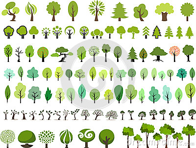 Vector set of trees with different stlye Vector Illustration