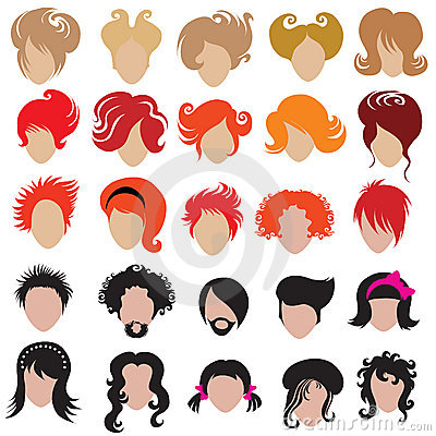 Vector set of trendy hair styling icons