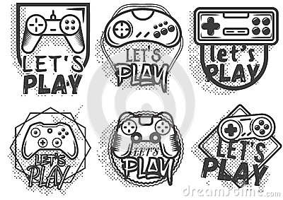 Vector set of video game play joystick in vintage style. Gaming concept. Vector Illustration