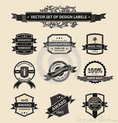 Vector set vintage decor elements ornaments ribbon