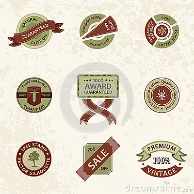 Vector set vintage decor elements. ribbon stamps
