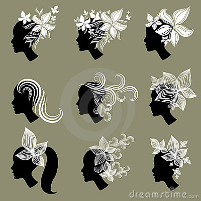 Vector set of vintage girls hair from leafs