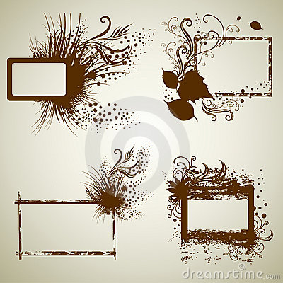 Vector set of vintage grunge frames