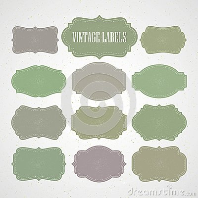 Free Vector Set Vintage Labels And Frame. Vector Royalty Free Stock Photo - 54835595