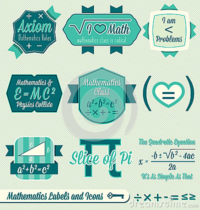 Vector Set: Vintage Math Labels and Icons