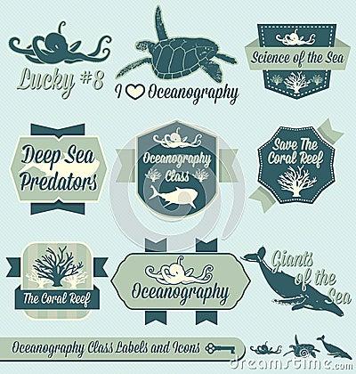Vector Set: Vintage Oceanography Class Labels