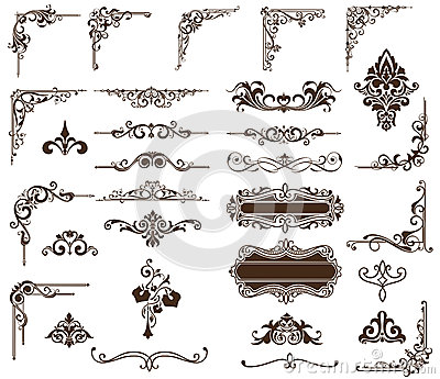 Vector Set Vintage Ornaments Corners Borders Stock