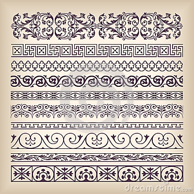 Vector set vintage ornate border frame with retro ornament patte Vector Illustration