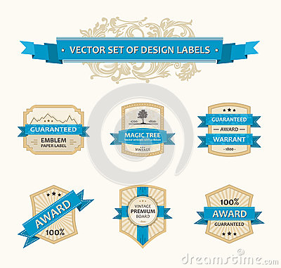 Vector set vintage ornate decor ornaments ribbon