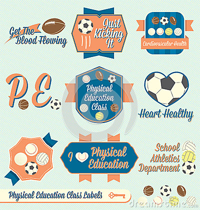 Vector Set: Vintage Physical Education Labels