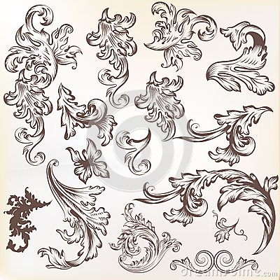 Vector set of vintage swirl elements for design
