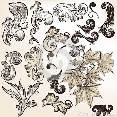 Vector set of vintage swirls for design