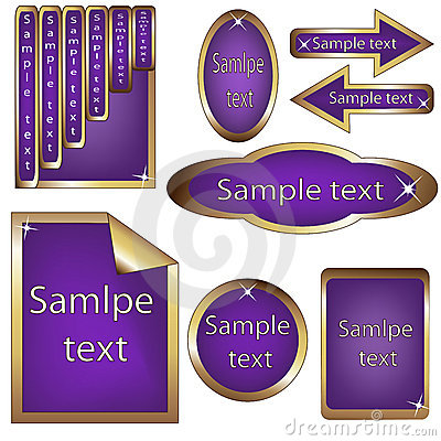 Vector set of violet and golden framed labels