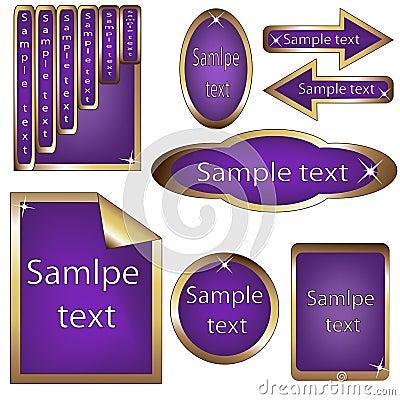 Vector set of violet and golden framed labels