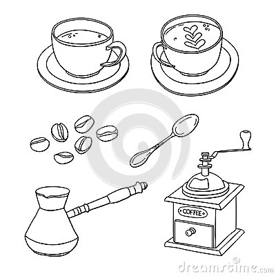 Free Vector Set With Cups Of Coffee, Coffee Beans, Coffee Maker, Coffee Grinder, Spoon Stock Image - 98877971