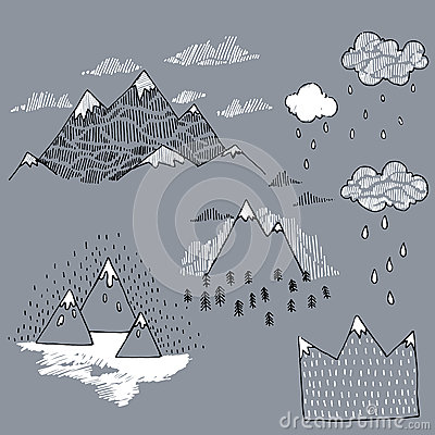 Free Vector Set With Illustration Mountain Peaks End Graphic Elements. Royalty Free Stock Photography - 63491877