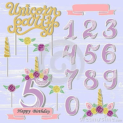 Free Vector Set With Unicorn Tiara, Numbers, Horn, Flower. Royalty Free Stock Photography - 115272457