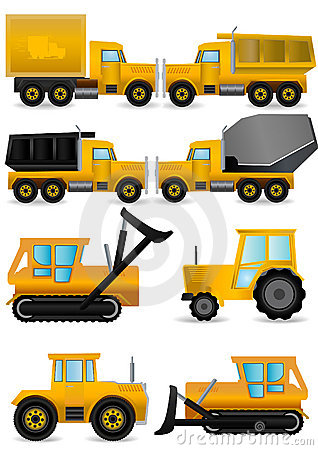 vector set yellow construction machines