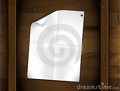 Vector sheet of folded white paper on a wood