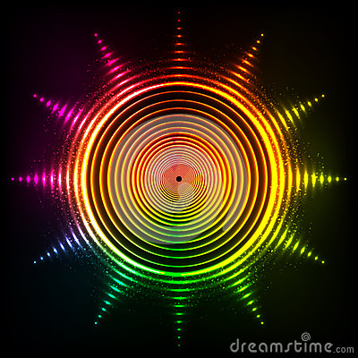 Free Vector Shining Neon Rainbow Colors Sun Royalty Free Stock Photography - 60273387